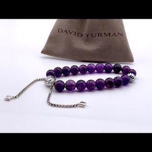 David Yurman Amethyst Silver Bead Bracelet